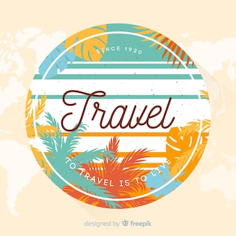 Vintage travel label flat design