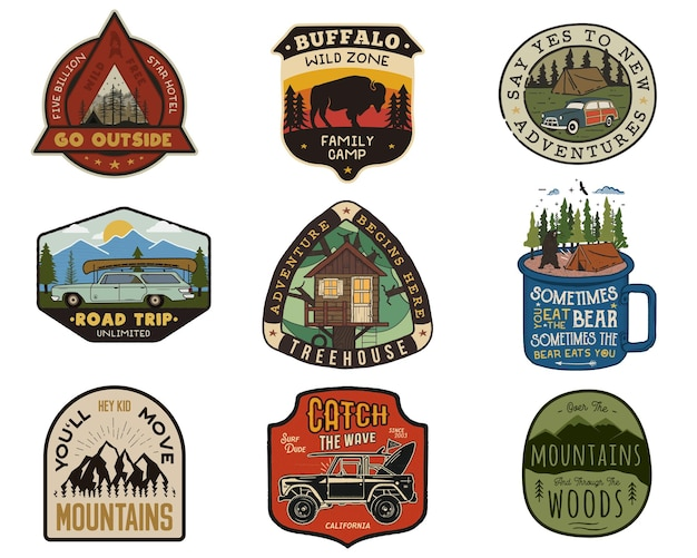 Vintage travel logos patches set. hand drawn camping labels designs. mountain expedition, road trip, surfing. outdoor hike emblems. hiking logotypes collection. stock vector isolated on white.