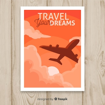 Vintage travel poster flat design