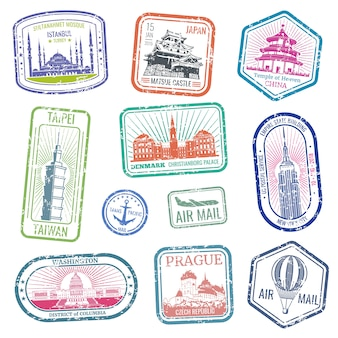 Vintage travel stamps with major monuments and landmarks vector set. collection of stamp grunge for air mail and travel illustration
