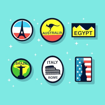 さまざまな世界的なシンボルのヴィンテージ旅行ステッカーとバッジ