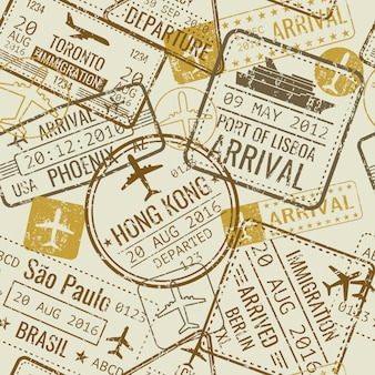 Vintage travel visa passport stamps
