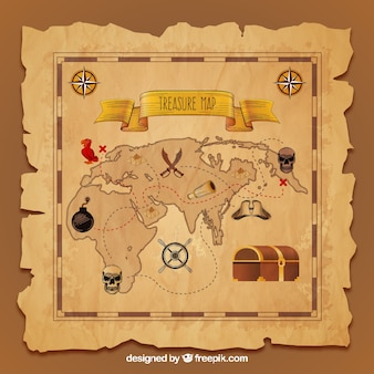 Vintage treasure map in realistic design