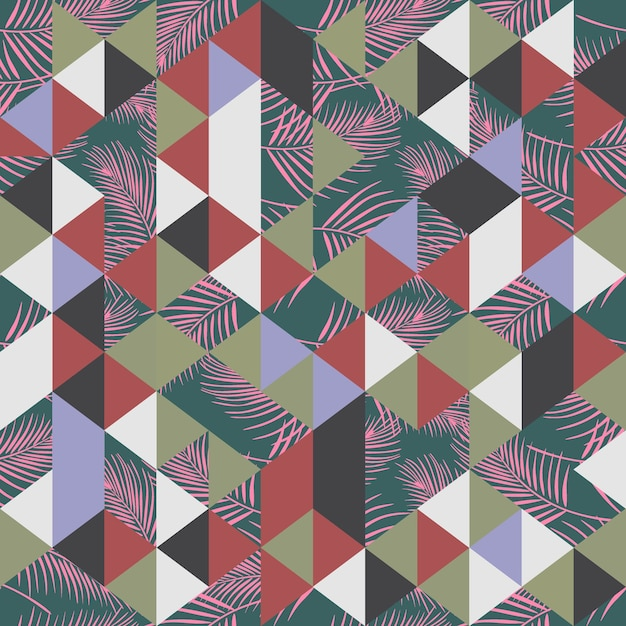 Vintage trendy palm leaves and triangle pattern