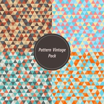 Vintage triangle geometric background set.