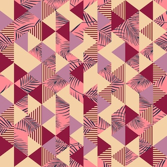 Vintage triangle pattern with seamless palm leaves