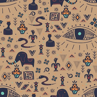 Vintage tribal seamless pattern with ethnic motifs