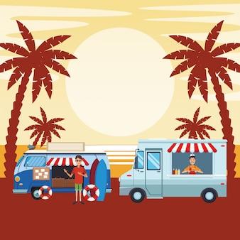 Мультфильм винтажный фургон