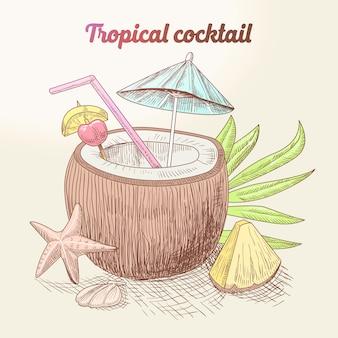 Винтажный тропический коктейль