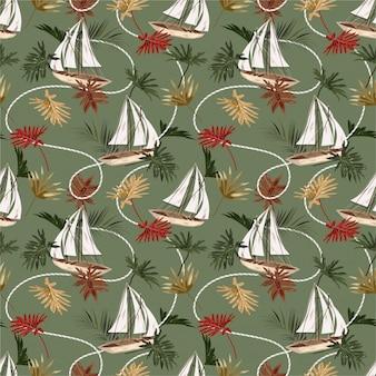 ヴィンテージ熱帯の葉、ボート、セーラーロープのシームレスなパターンを手描きスタイル