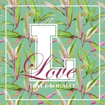 빈티지 열대 잎 꽃 그래픽 디자인-티셔츠