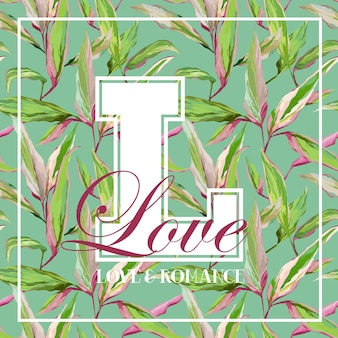 Vintage tropical leaves floral graphic design - for t-shirt