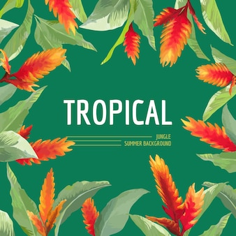 Vintage tropical leaves and flowers graphic design for t shirt, fashion, prints in