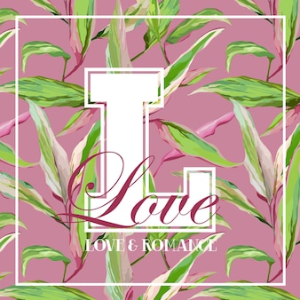 Vintage tropical leaves and flowers graphic design - for t-shirt
