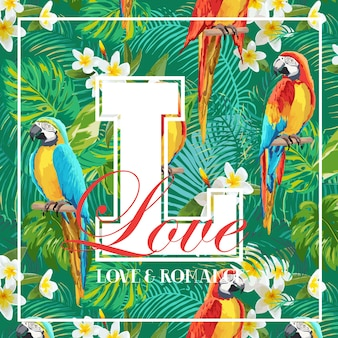 Vintage tropical leaves, flowers and parrot bird graphic design