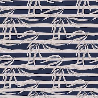 Винтажные тропические листья semless узор. тропический лист на фоне полосы. экзотические гавайские обои. дизайн для ткани, текстильный принт, упаковка, обложка. векторная иллюстрация.