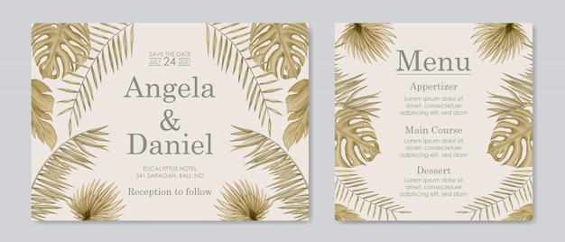 Vintage tropical leaves for wedding invitation card template