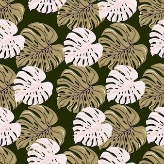 빈티지 열대 몬스테라는 매끄러운 패턴을 남깁니다. 레트로 스타일의 식물 단풍 식물 벽지.