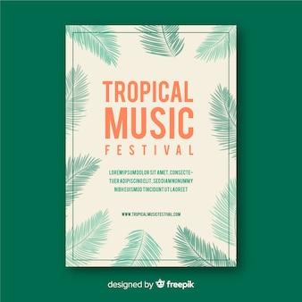 빈티지 열대 음악 축제 포스터 템플릿