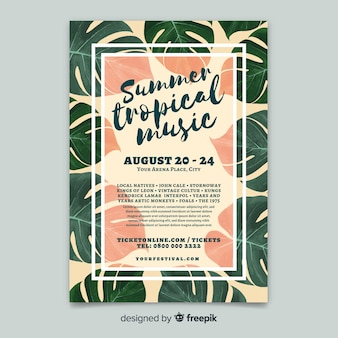 Vintage tropical music festival poster template