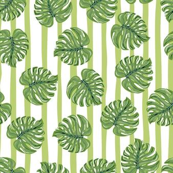 줄무늬 배경에 몬스테라 잎이 있는 빈티지 열대 원활한 패턴입니다.
