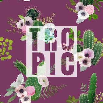 Tシャツ、ファッション、プリントのヴィンテージ熱帯夏サボテンと花のグラフィックデザイン
