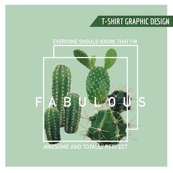 Tシャツ、ファッション、プリントのヴィンテージトロピカルサマーサボテングラフィックデザイン
