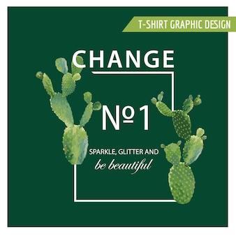 Tシャツ、ファッション、プリントのヴィンテージトロピカルサマーサボテンハートグラフィックデザイン