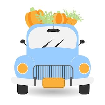 Vintage truck harvest blue car with pumpkins pickup truck with harvest