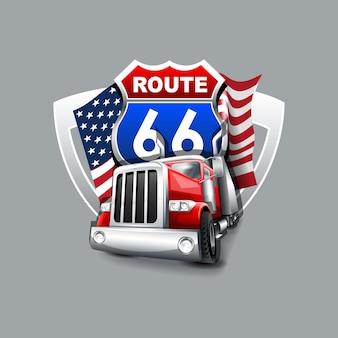 Vintage truck, route 66 logo.