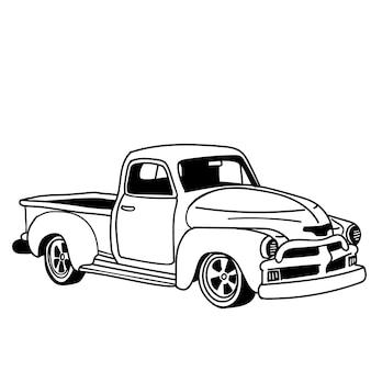 ヴィンテージトラック。側面図、ポスター、ウェブ、雑誌、ポスター、白い背景で隔離。白い背景で隔離のベクトル手描きイラスト