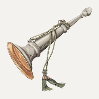 Illustrazione vettoriale di tromba vintage, remixata dall'opera d'arte di thomas dooley