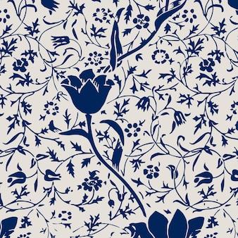 ヴィンテージチューリップの花のシームレスなパターンの背景
