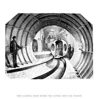 Vintage tunnel illustration