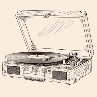 가방에 내장 스피커와 비닐 레코드가있는 빈티지 턴테이블