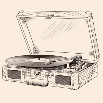 Vintage turntable with built-in speakers and vinyl record in a suitcase