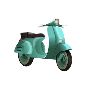 Vintage turquoise blue scooter isolated on white background