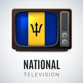 Старинное телевидение и флаг барбадоса как символ национального телевидения. кнопка с флагом барбадоса