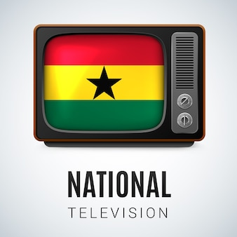 Vintage tv and flag of ghana as symbol national television
