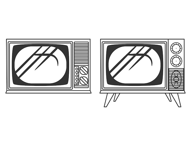 Vintage tv lineart black and white