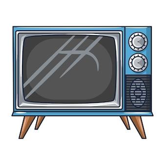 白い背景の上のヴィンテージテレビ