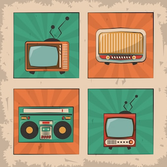 Vintage tv radio retro device image