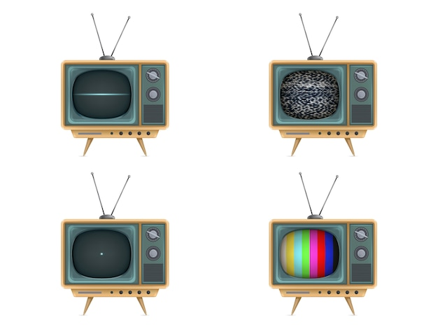 Tv vintage, televisione. accensione, spegnimento, rumore bianco, test card, start-up