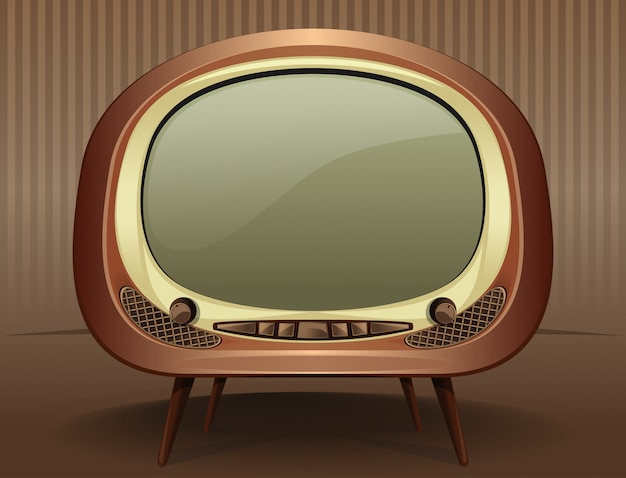 Vintage tv television in the old style