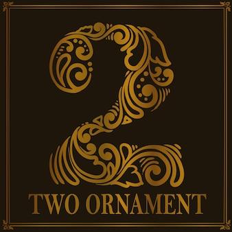Винтажный стиль орнамента с двумя числами