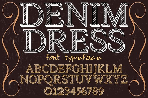 Vintage typeface alphabet design denim dress