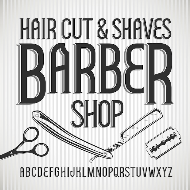 ビンテージ書体理髪店。