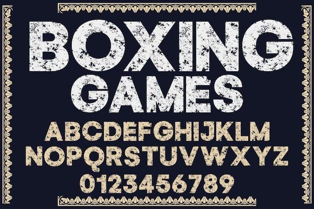 ヴィンテージ書体フォントデザインボクシングゲーム