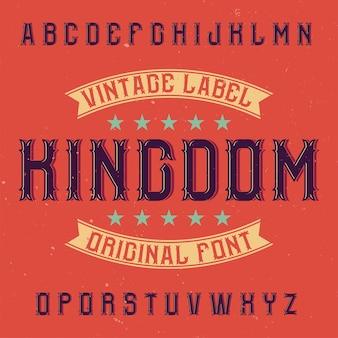 Illustrazione di carattere tipografico vintage