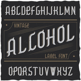 Vintage typeface named alcohol